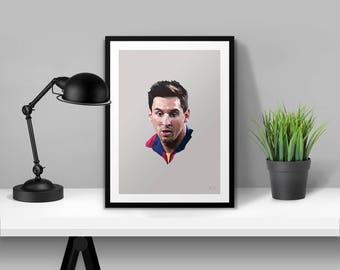Lionel Messi Barcelona Portrait Illustrated Poster Print | A6 A5 A4 A3