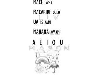 Maori weather. Room print. Babies. Toddlers. Nursery art. Maori art. Maori room art.