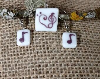 Music Heart Pendant and Earring Set
