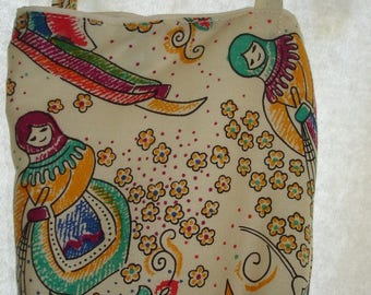 Cross body / shoulder cotton fabric bag
