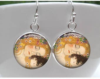 Gustav Klimt Earrings- Mother and Child Painting - Sterling Silver Posts -French Hooks - leverbacks