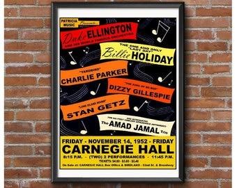 Carnegie Hall Jazz Concert Poster - Duke Ellington Billie Holiday Dizzy Gillespie