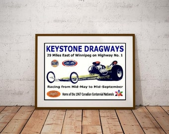 Keystone Dragways Poster – Winnipeg, Manitoba 1967 Canadian Centennial Nationals