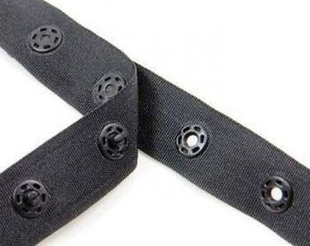 Press Stud Tape Poppers Snap Fasteners Ribbons Bedding Pillow Covers 18mm Black