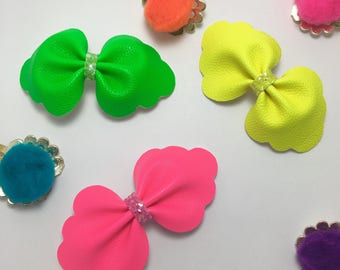 3pk Summer Neon pink, yellow, green faux leather Hair Clip/ Headband set.