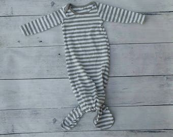 Knot Baby Gown Heather Gray and White Stripes