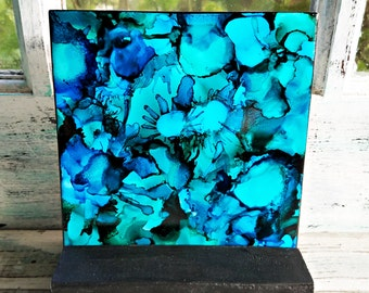 Alcohol Ink, Painting, Tile, Abstract, Multi-Color Blues