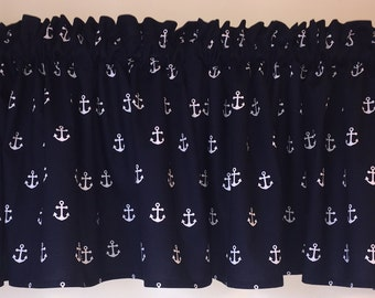 Dark Blue with white anchor window valance
