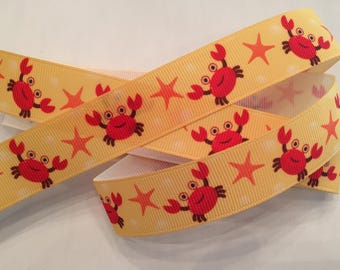 Ocean Crab Sea Life Grosgrain Ribbon 7/8""