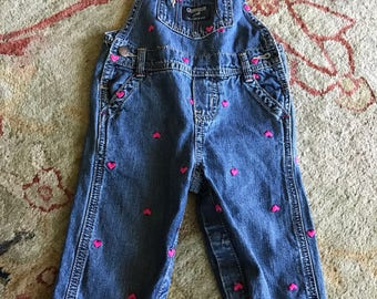 Vintage size 9 months Oshkosh vestback heart overalls
