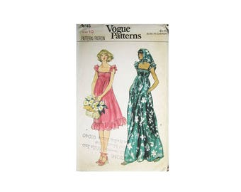 Vintage 1970s Vogue 9745 Size 10 Misses Dress and Scarf, Chic Flower Power Hippie Mod Look with a Touch of Romance, Cut and Complete