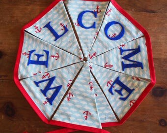 Welcome Home - Navy anchor bunting