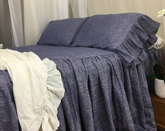 Chambray Denim Linen Bedspread, Chambray Bed Cover handmade in Natural Linen Flax. Mermaid Long Ruffle Pillow Cases, Its a stunner!