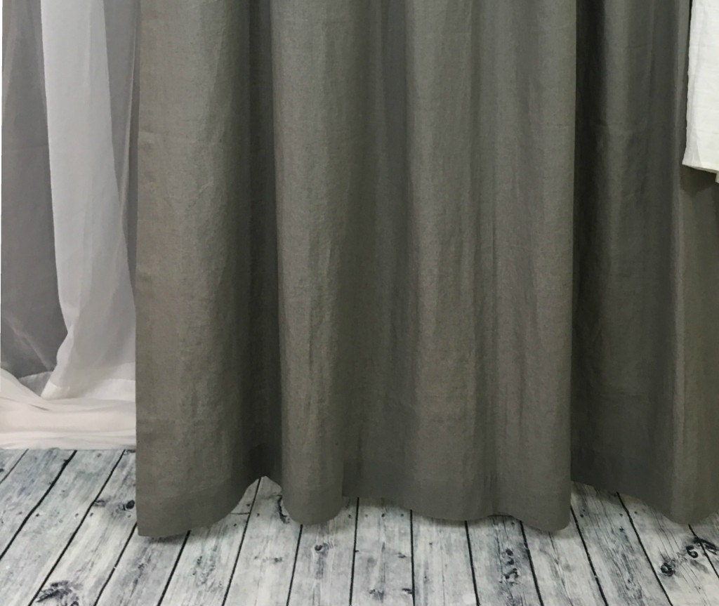 Grey Linen Shower Curtains Gray Linen Mildew Free 72x72