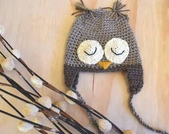 Owl beanie, crochet owl beanie, woodland animals,