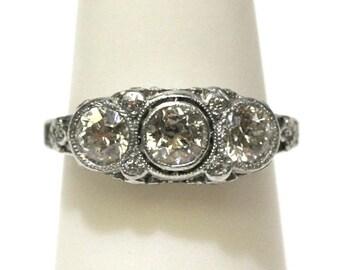 Vintage Three Stone Diamond Ring 1.00ctw