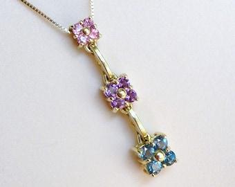 Krementz Gold Gemstone Necklace, Vintage 14K Gold Gemstone Pendant Necklace, Gold Flower Multi Gemstone Necklace