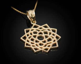 Gold Sahasrara (Unity) Chakra Yoga Jewelry Pendant Necklace (yellow, white, rose gold, 10k, 14k)