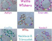Wellie Wishers seed bead name necklace and matching triple bracelet set - Jewelry set for Wellie Wishers doll