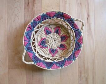 Vintage woven basket, vintage pink basket, vintage purple basket, vintage wicker, wallbasket