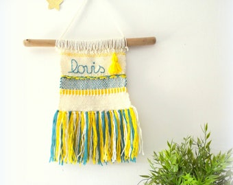 Blue mustard wall weaving duck / decoration for customizable child / wall hanging / wall hanging baby toddler wool