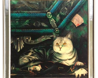 Paul Stagg Paint on Print Painting Cat on Couch in Mirrored Frame 23 x 23