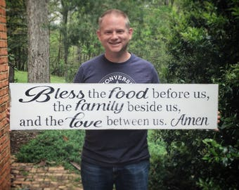 Bless the food before us, long hand painted wooden sign, family wall decor, farmhouse style, woodfairysigns, kitchen, love quote, large