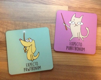 Harry Potter Film and Movie Animal parody Illustrated Cat and Dog Coasters