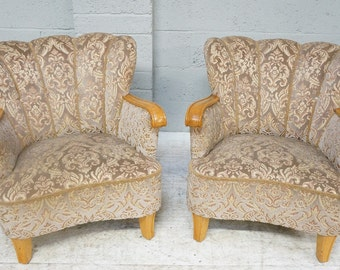Vintage Pair of Art Deco Fan Back Upholstered Arm Chairs