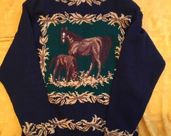 Horse Scene Bugle Button Up Navy Blue Cardigan Size Small