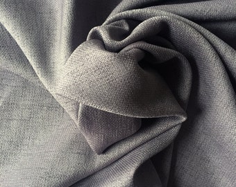 Grey Stretch Linen | Black Polyester Spandex Woven Fabric by the Yard