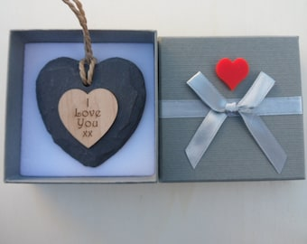 I Love You xx Slate & Maple Wood Engraved Heart with Gift Box