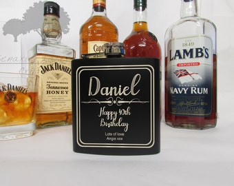 Personalised 6oz Hip Flask, Perfect Gift for Birthdays, Anniversaries, Stag do's and Weddings (BF14)bday