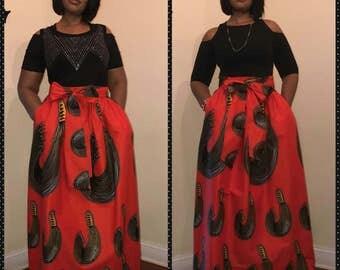 African clothing, African  Maxi skirt, Gather waist skirt, African Women Clothing, Java Wax