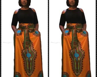 African clothing, African Skirt, gathered waist. Dashiki fabric