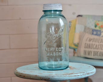 1/2 Gallon Vintage Ball Jar, Perfect Mason Ball Jar, Vintage Ball Jar, Farmhouse Home Decor