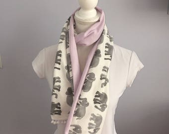 Gray and Lavender Spring Elephant Pompom Scarf