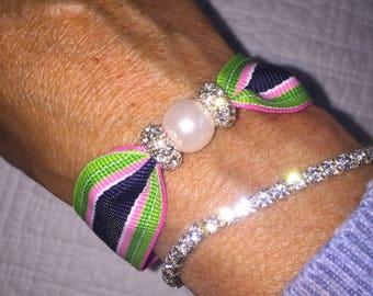 Preppy Pink Blue Green Pearl bracelet