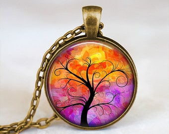 Black and Multicolored Whimsical Tree - Handmade Pendant Necklace