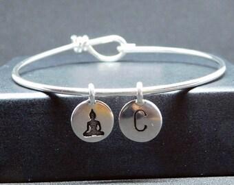 Yoga figure silver plated bangle bracelet with initial, yoga bracelet, yoga gift