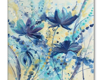 """FREE SHIPPING_Cool Floral Dance I 20x20"""" Original Painting on Unstretched Canvas"""