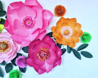 Bright pink paper flowers wall decor baby girl bedroom floral accent giant 3D green paper flowers bright orange girl first birthday party