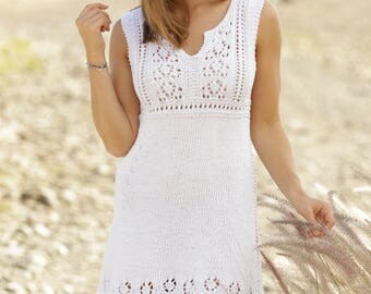 Knitted cotton dress with lace pattern, summer dress, women knitwear, handmade knitwear
