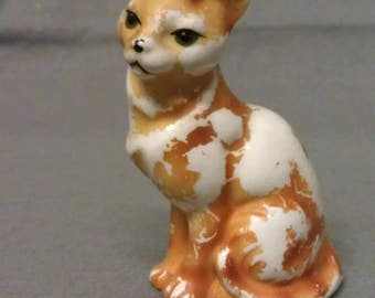 Tan Cat Over Beige Cat Figurine AS IS