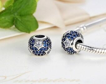 Sterling 925 silver charm blue hexagon bead pendant fits Pandora charm and European charm bracelet