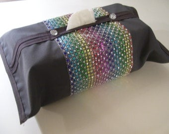 Bling Tissue Covers Grey Rainbow Rhinestones Design Rainbow Rhinestone Decor Grey Tissu