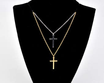 Sterling Silver Rhodium or Gold Plated Simply Small Cross Pendant