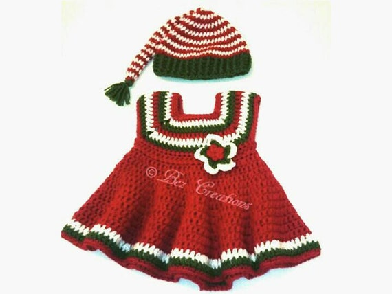Christmas baby dress elf hat photo prop 3 6 months by bezcreations