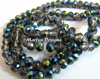 AAA Quality Green Coated Hydro Quartz 6mm Size Beads , Mystic Coated Smoky Quartz Rondelle Faceted Beads , approx. 100 Beads per Strand.