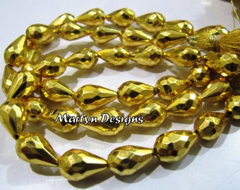 Super Fine Quality 24 Kt. Gold Plated Natural Pyrite Drops Beads , Faceted Teardrop Shape approx. 8x13mm size Pyrite Beads , Length 8 inches